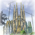 illustration barcelona sagrada familia, Illustrations for advertising storyboards, animatic and keyvisuals