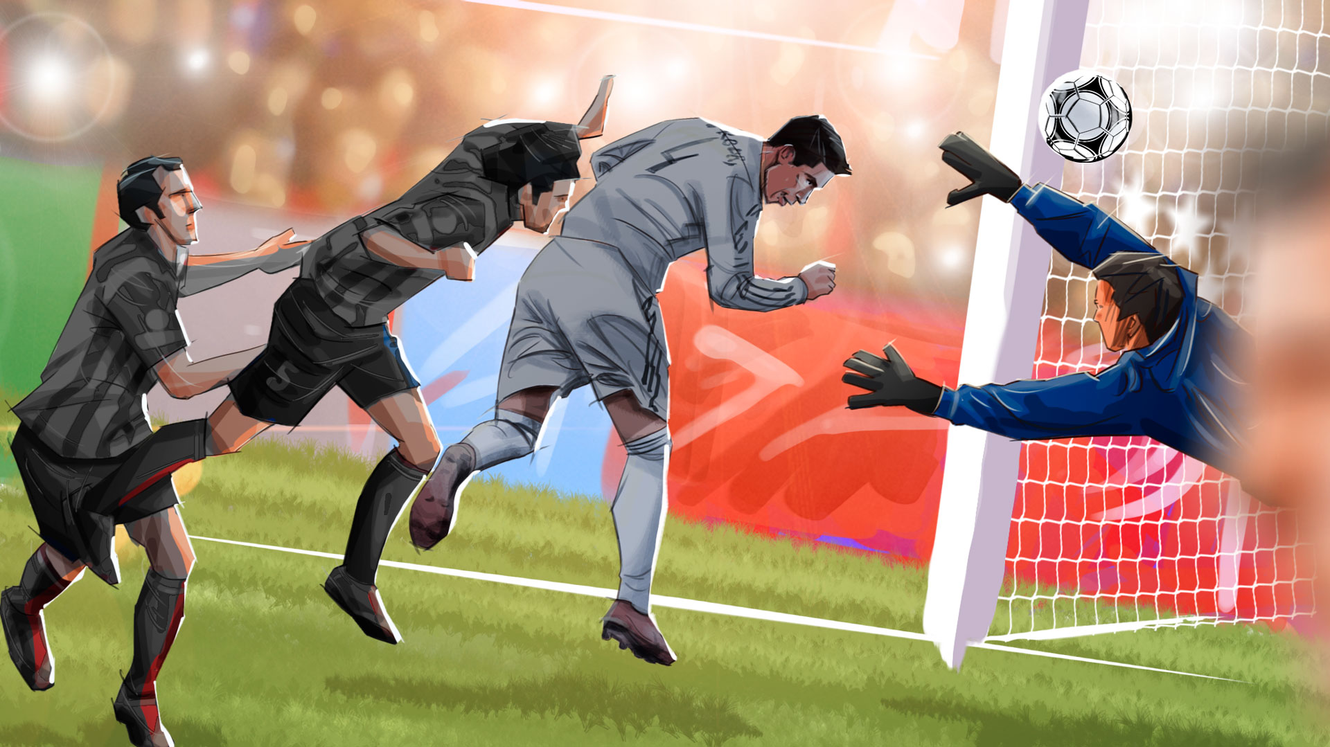 soccer goal illustration, 'Famous matches - illustrations for web game