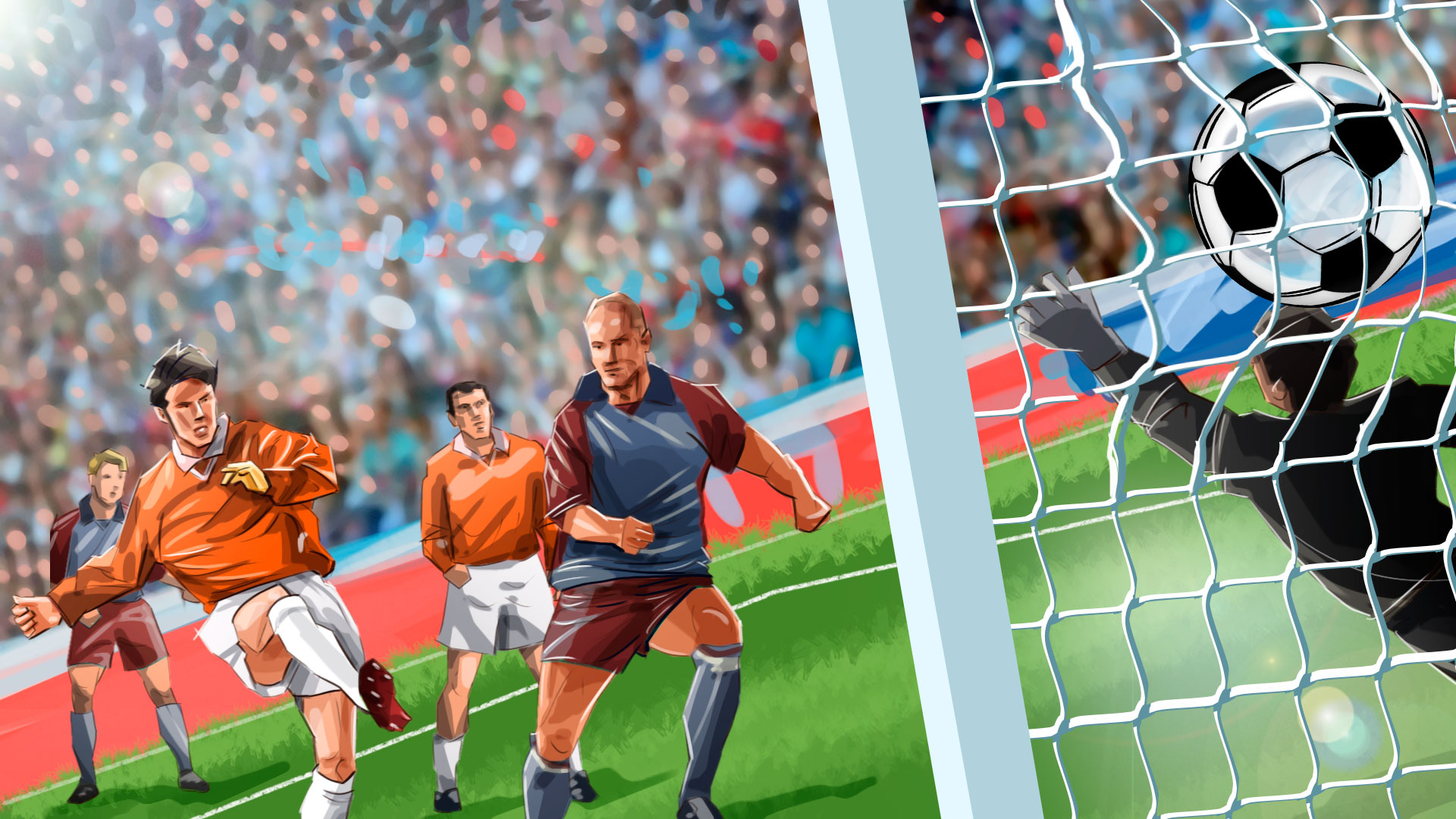 soccer game emotions illustration, 'Famous matches - illustrations for web game