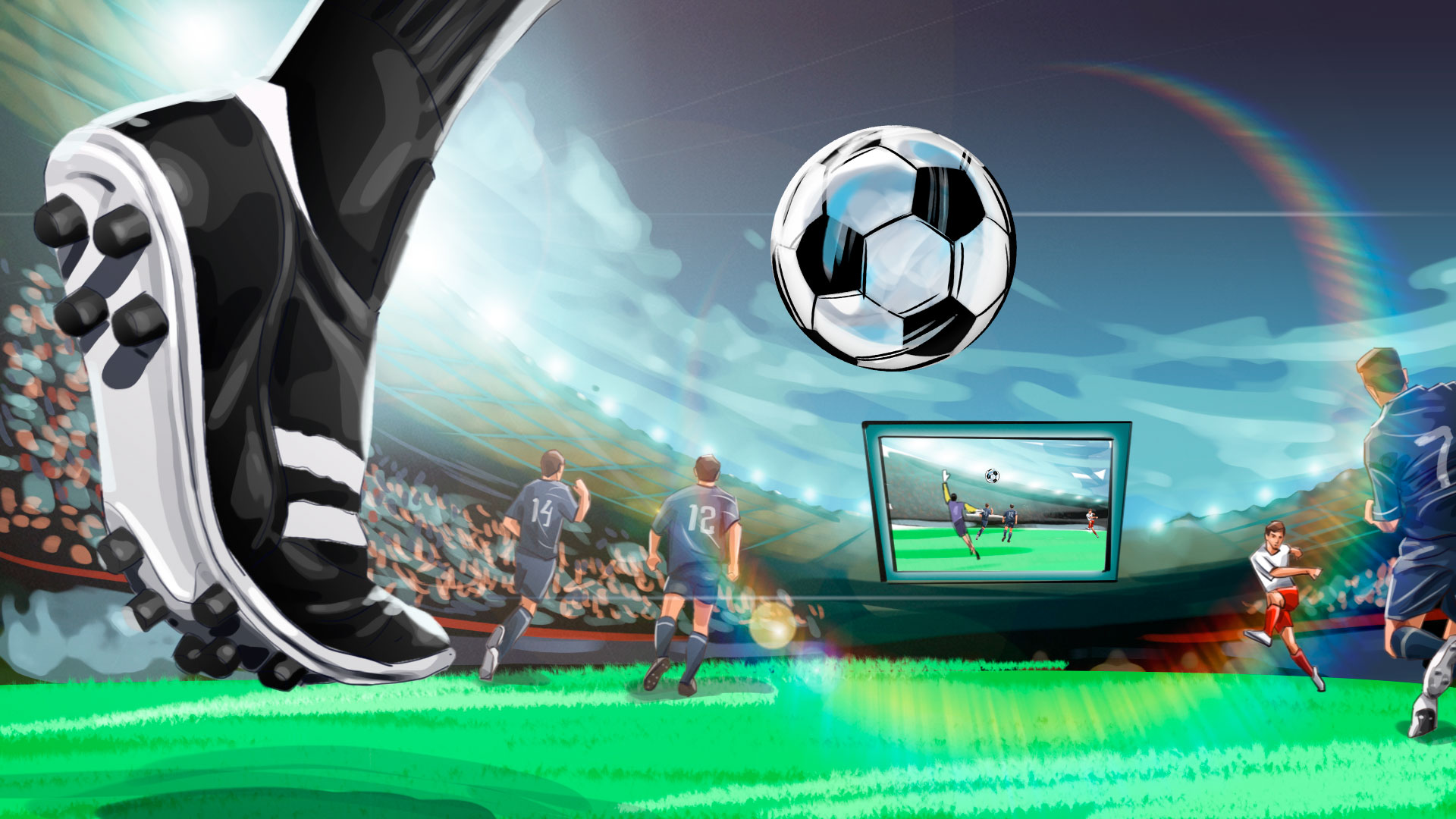 low angle view soccer illustration, 'Famous matches - illustrations for web game