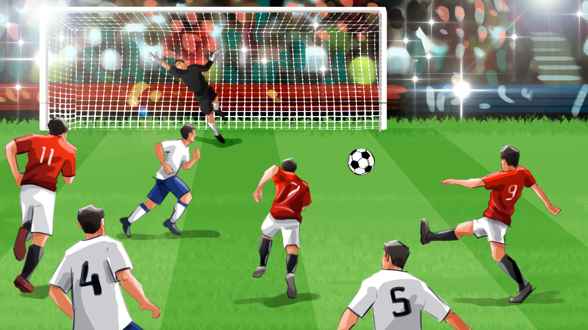 soccer action illustration, 'Famous matches - illustrations for web game