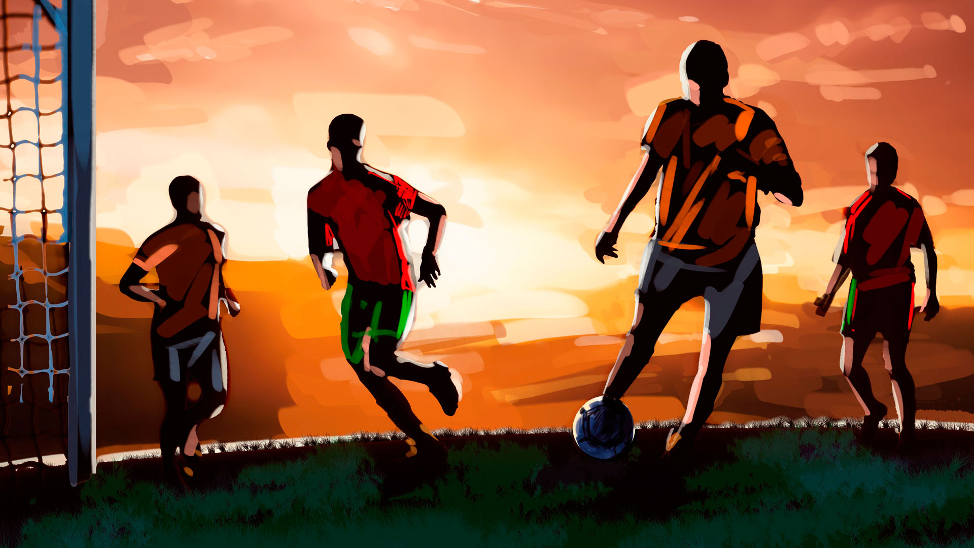 soccer game evening illustration, 'Famous matches - illustrations for web game