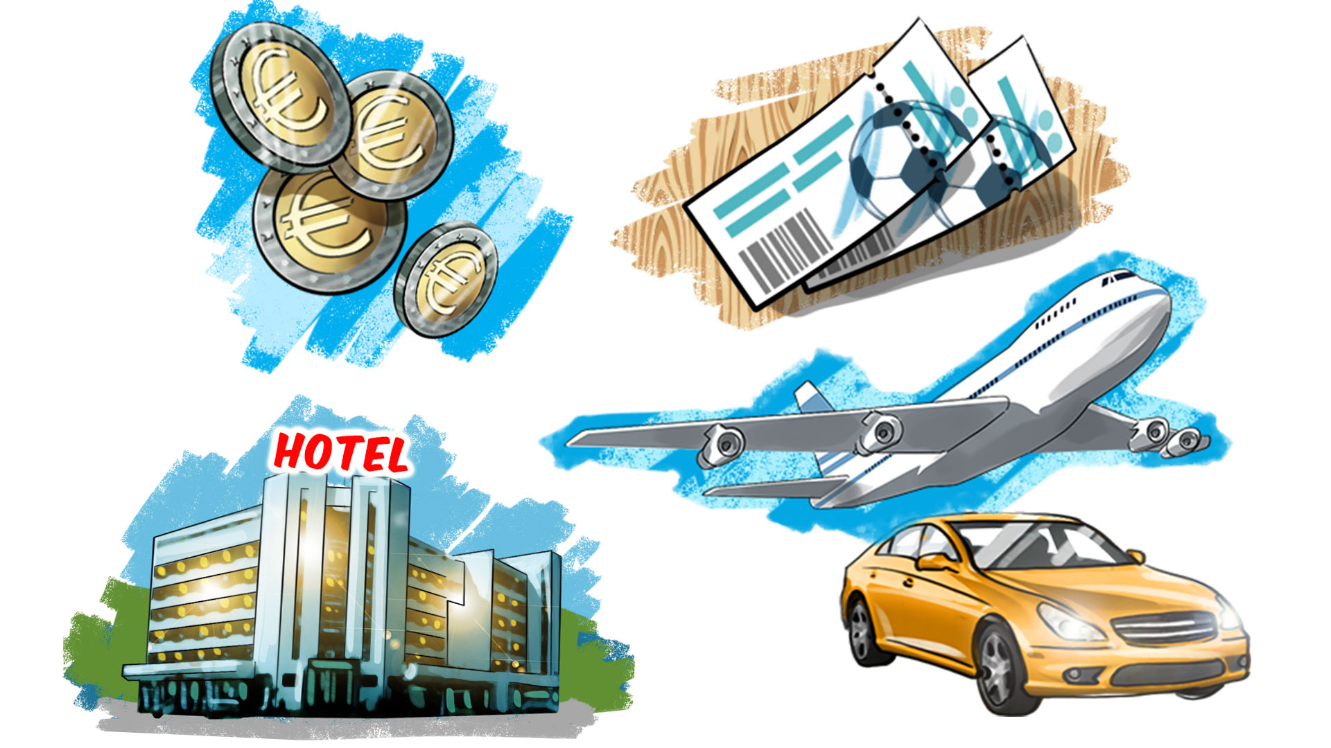 Money tickets hotel car illustrations, 'Famous matches - illustrations for web game