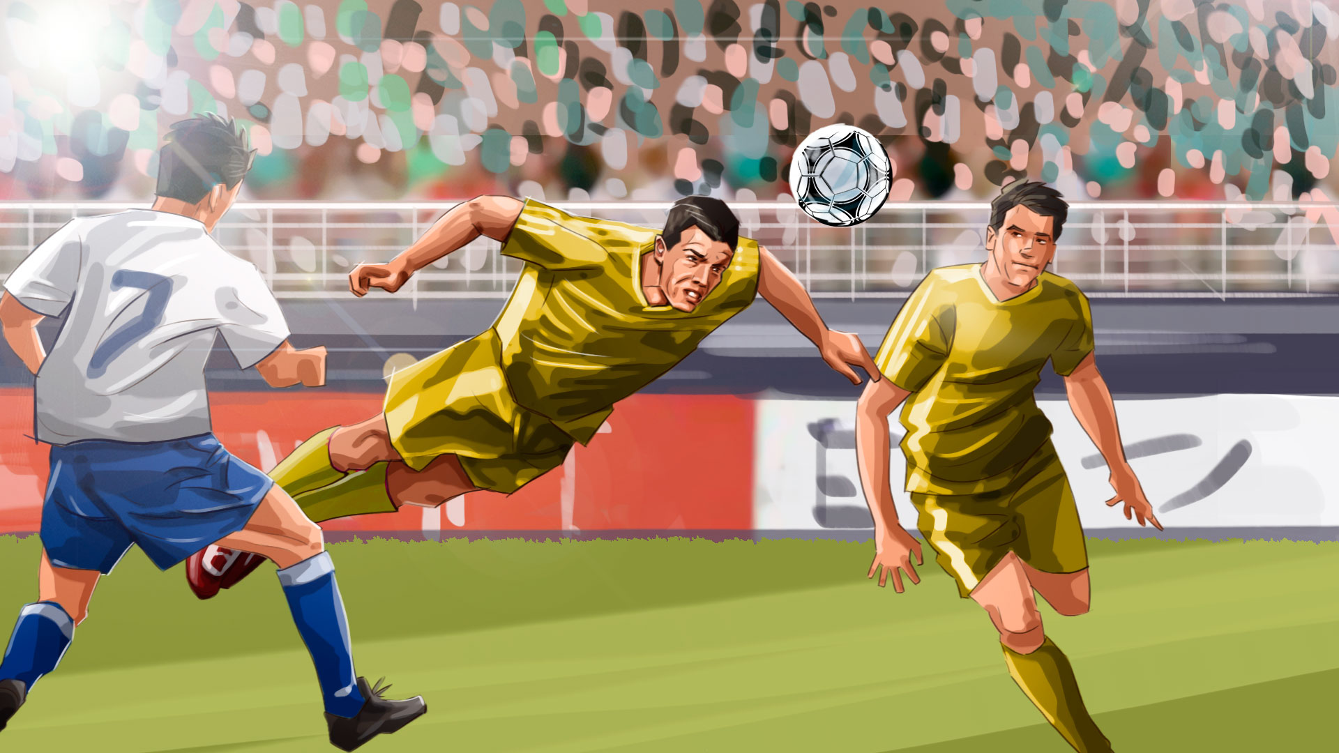 Soccer game head kick illustration, 'Famous matches - illustrations for web game
