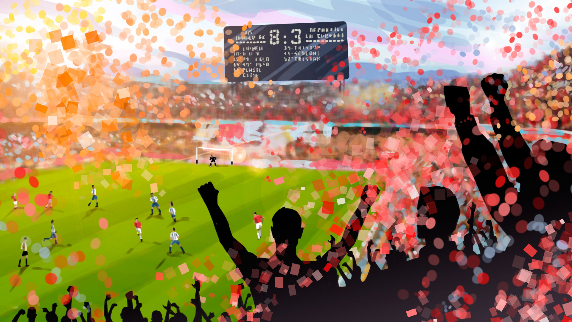 soccer fans enthusiasm illustration, 'Famous matches - illustrations for web game