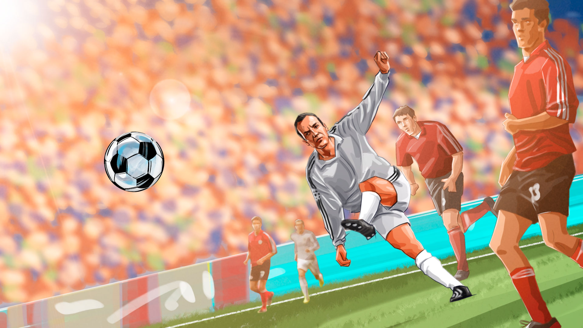 soccer kick master illustration, 'Famous matches - illustrations for web game