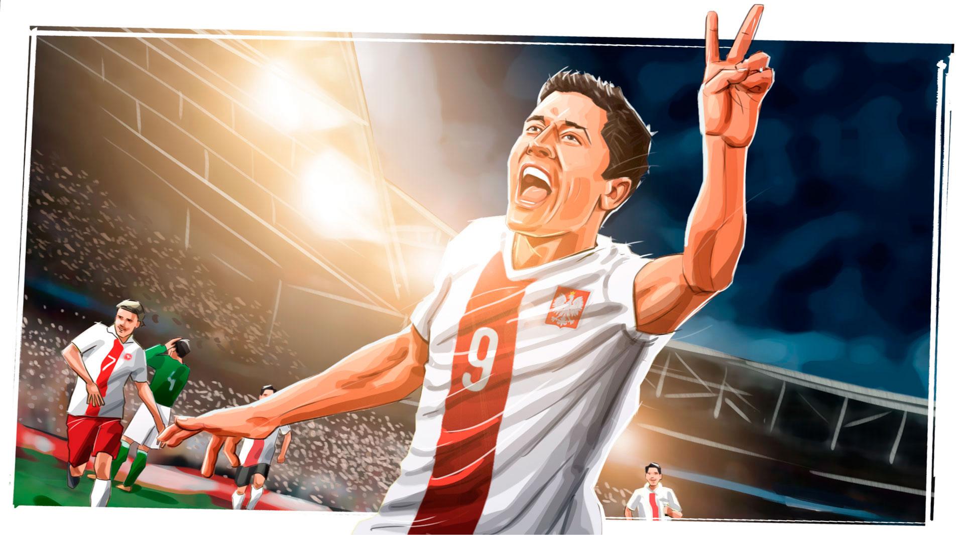 Lewandowski portrait illustration, Famous matches - illustrations for web game