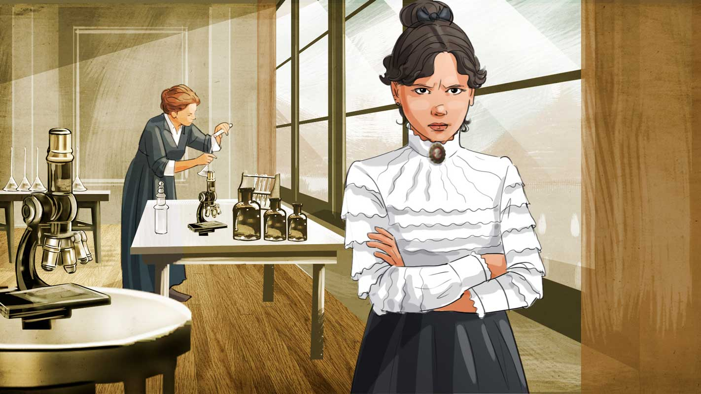 Illustration daughter mother curie laboratory orange