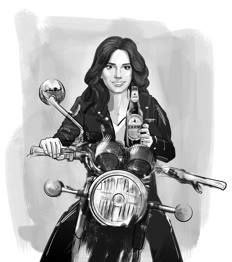 harley davidson penelope cruise beer advertising keyvisual illustration