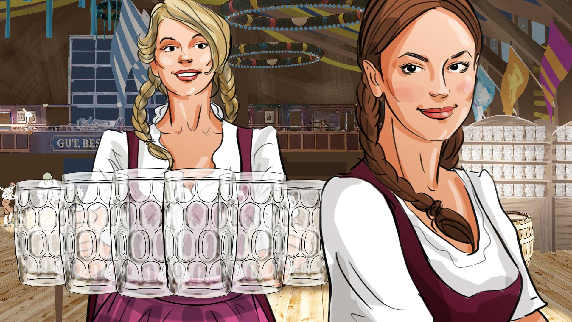 girls oktoberfest beer illustration advertising