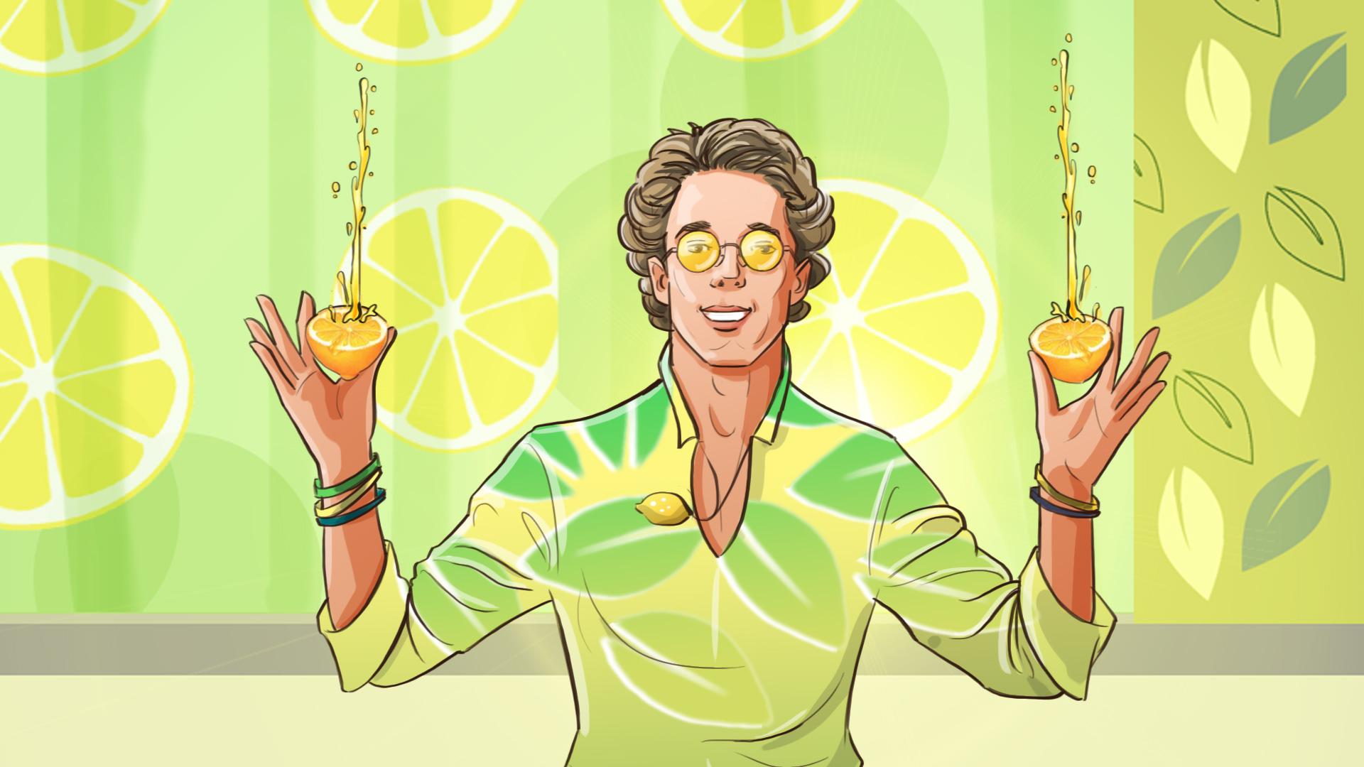 man lemon smile illustration advertising