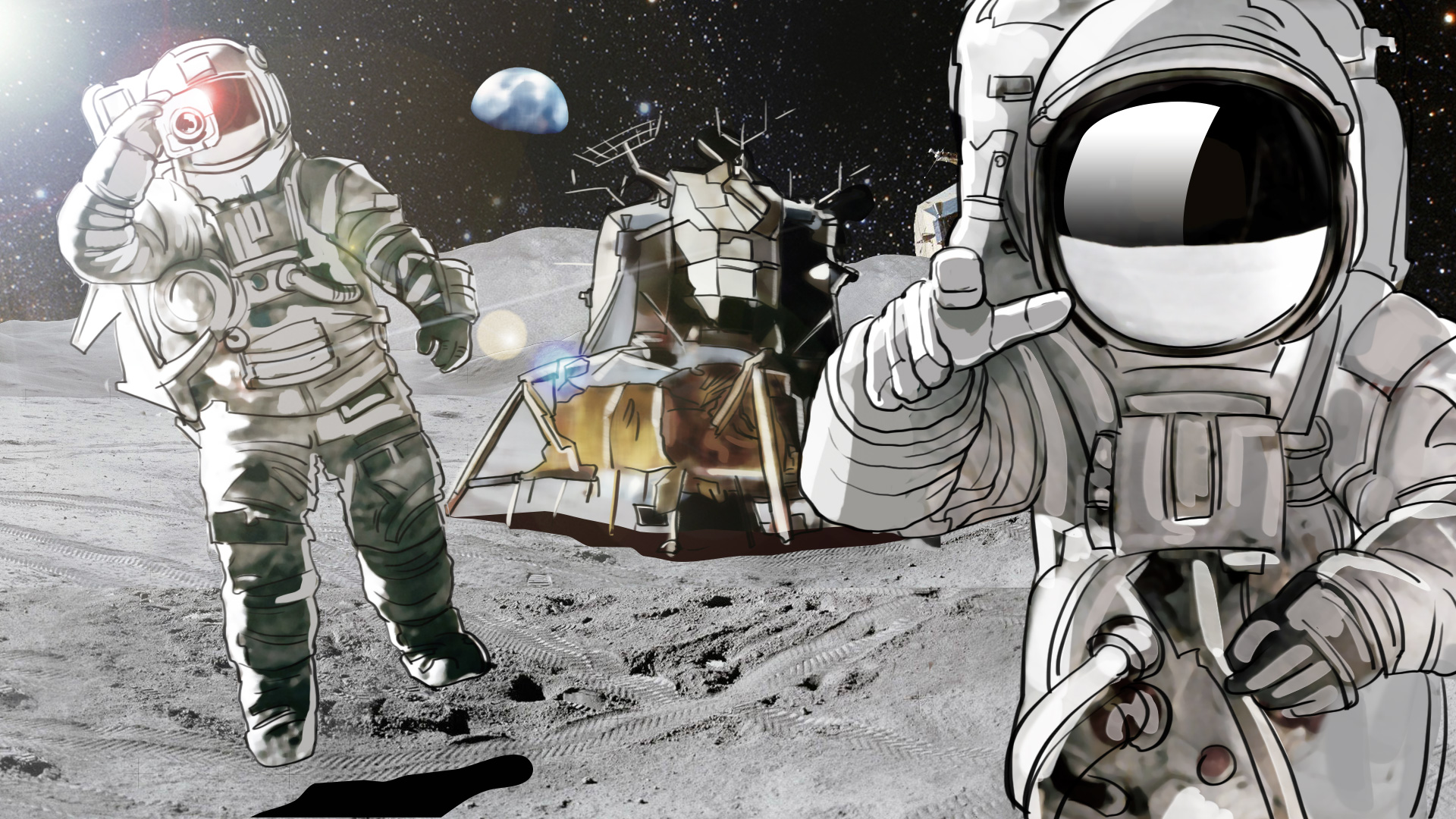 illustration cosmos astronauts