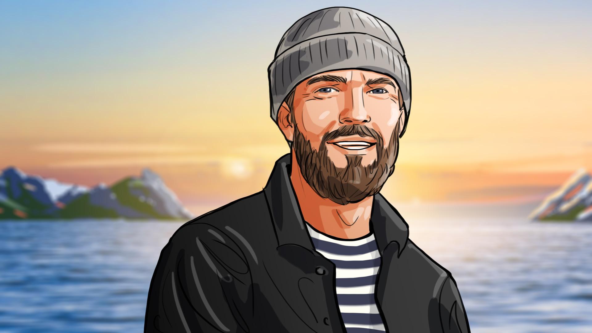illustration man fisher seaman