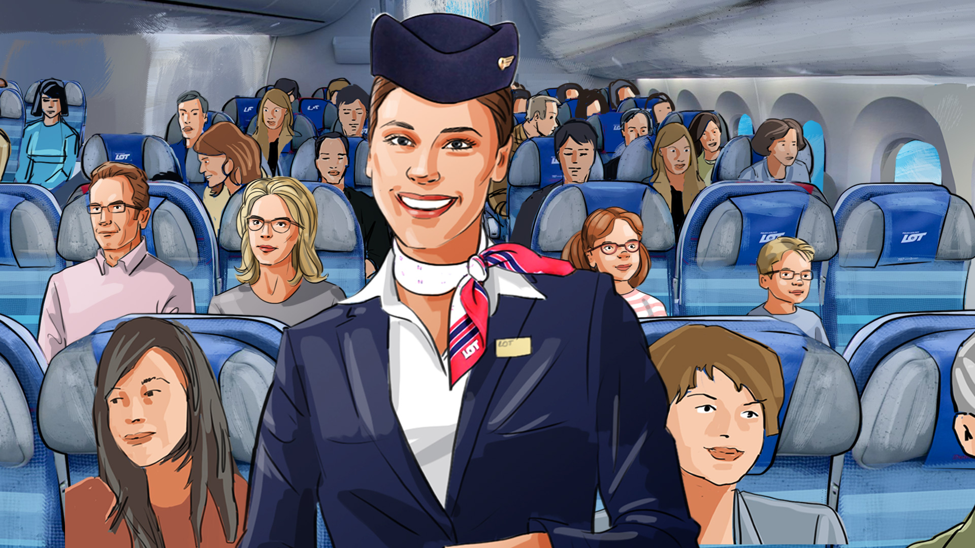 stewardess smile plane board illustration