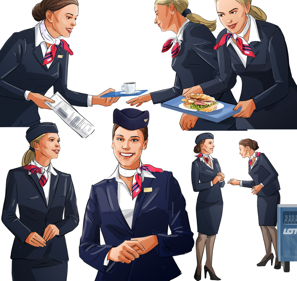 stewardesses poses smile plane board illustration