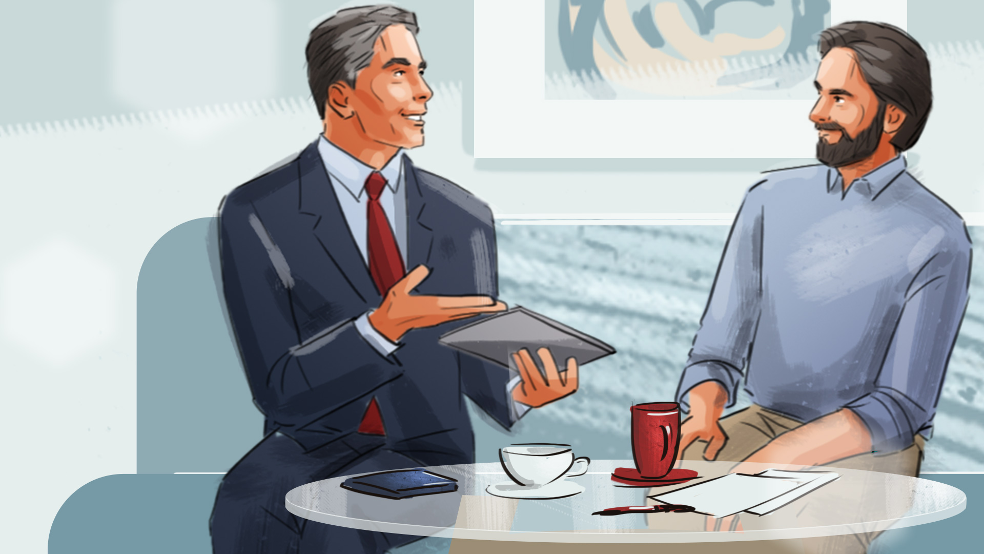 illustration bussines conversation advertising