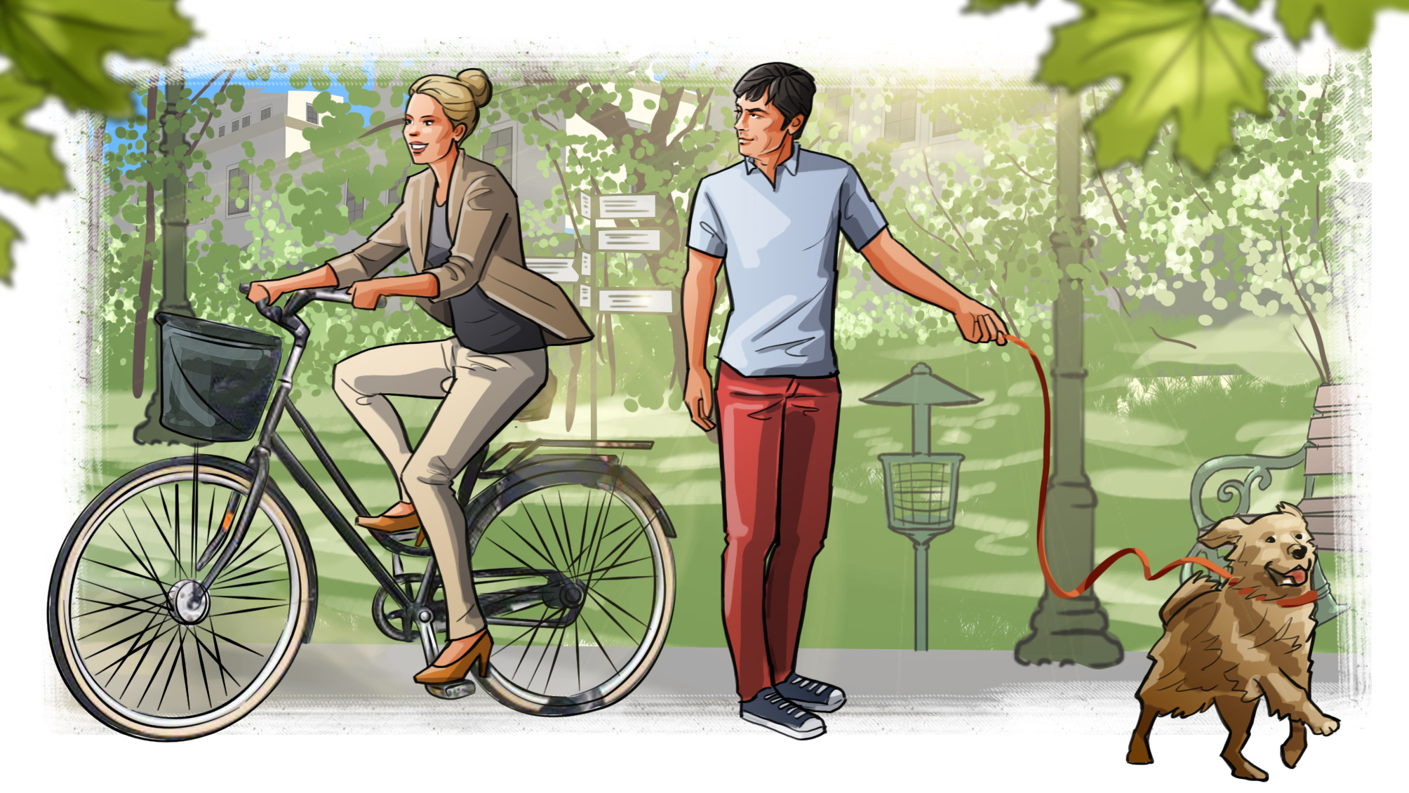 illustration-walk dog bike woman man