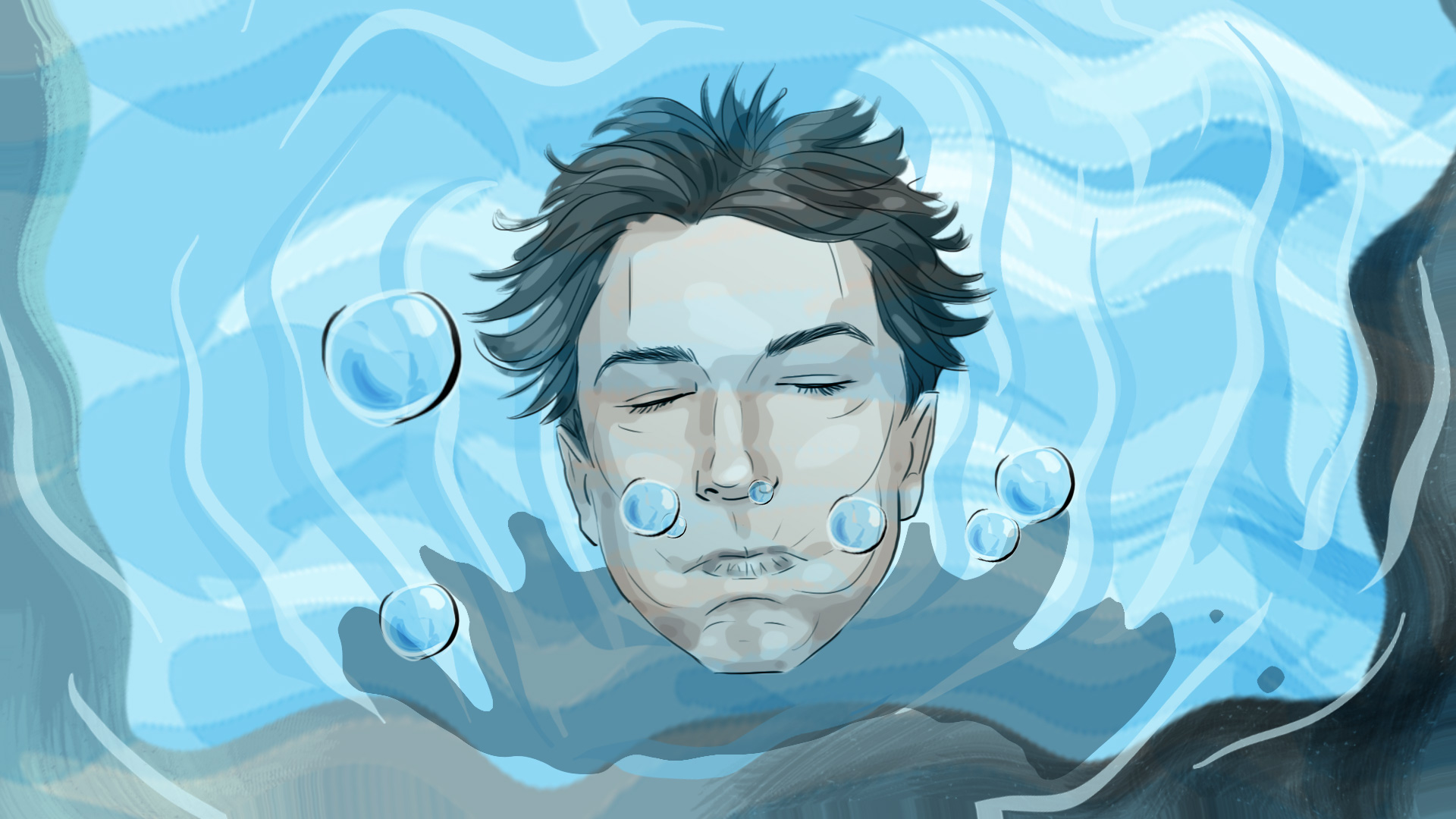 head in the water wakeup comedy illustration advertising