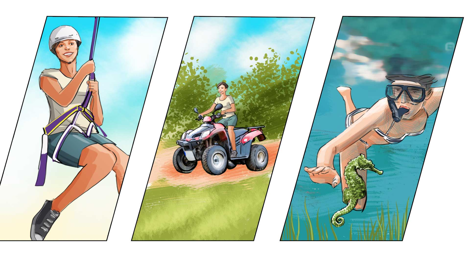 woman sport swim snork ride hiking illustration