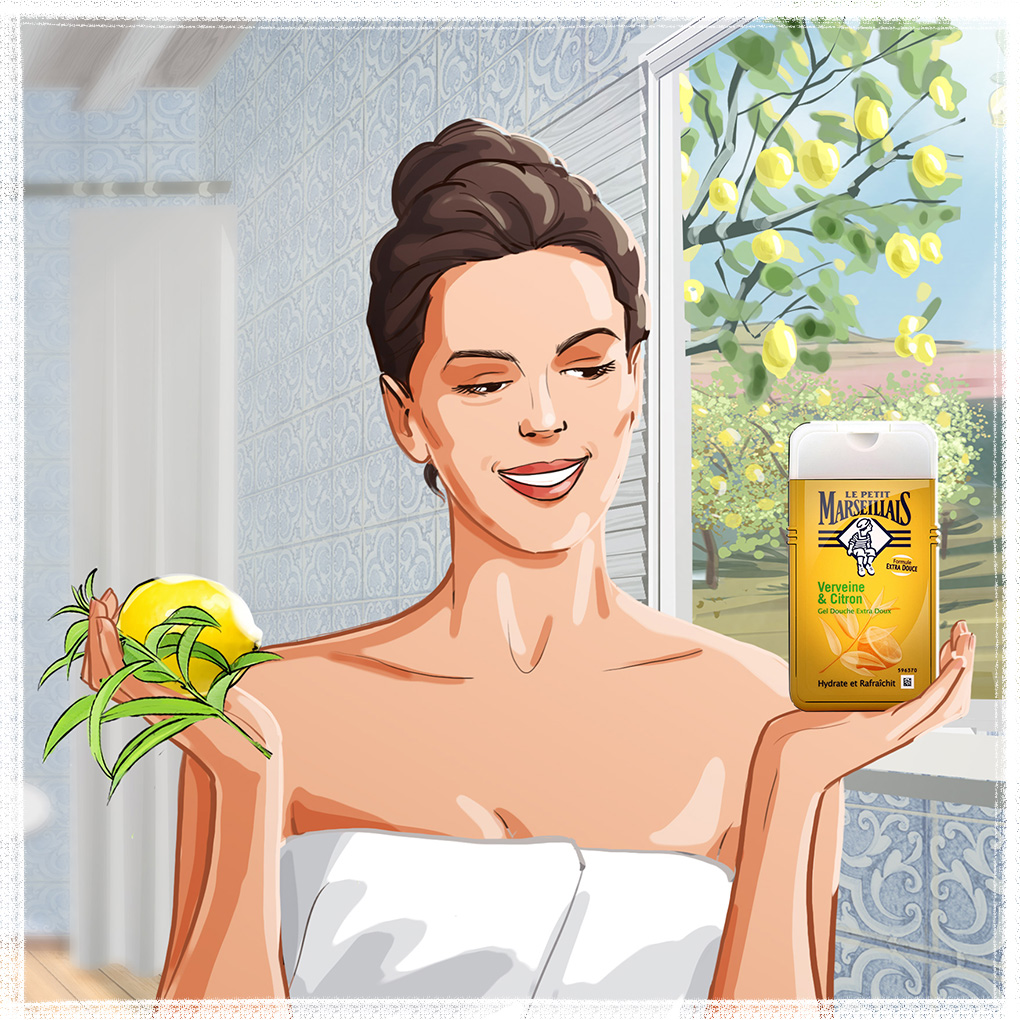 woman bath france advertising cosmetics illustration