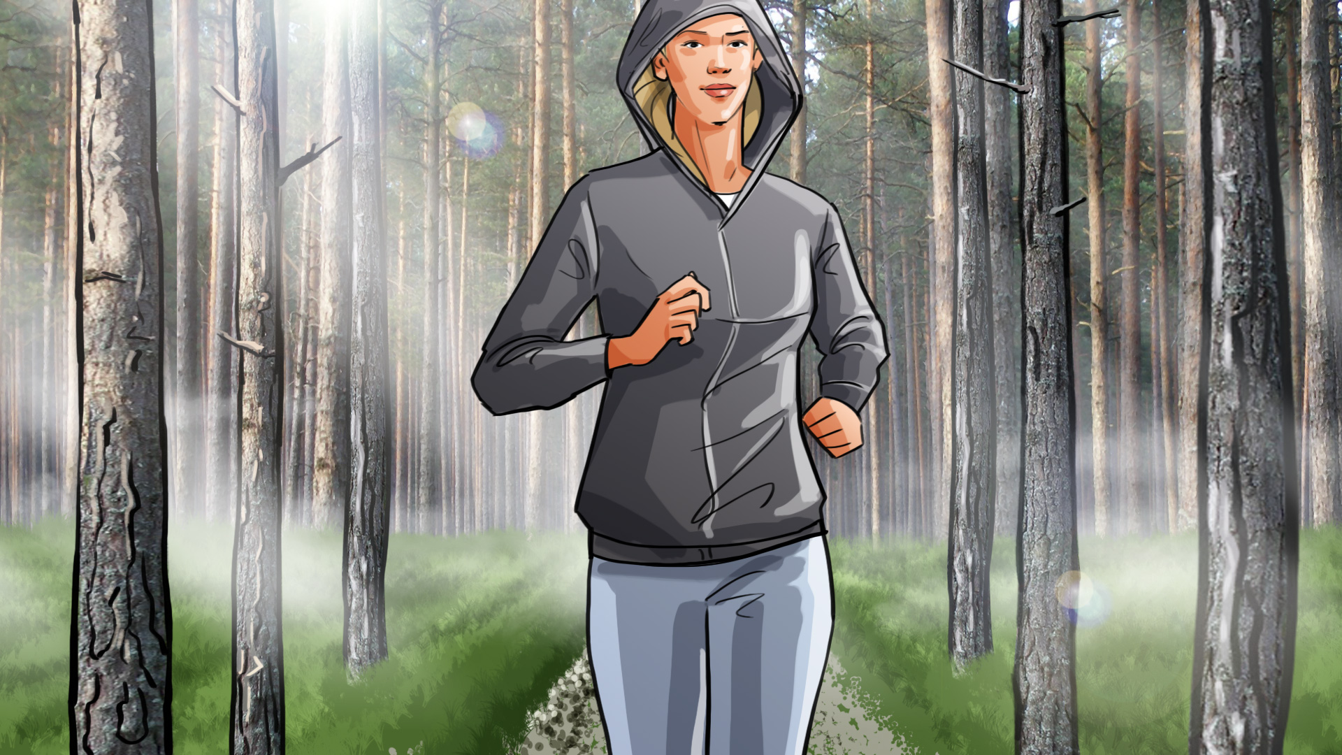 women running forrest health illustration