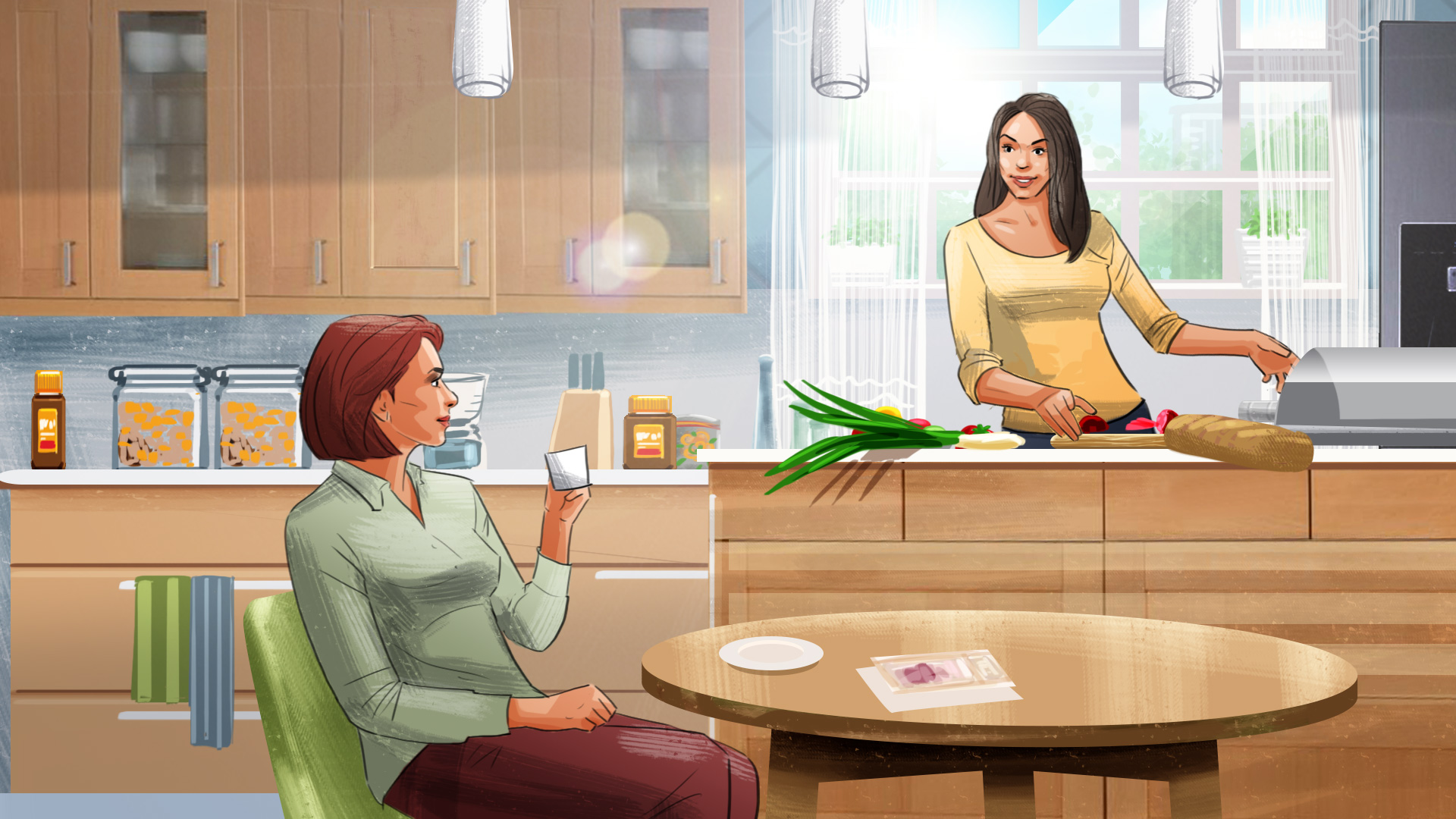 women talks in the kitchen illustration advertising