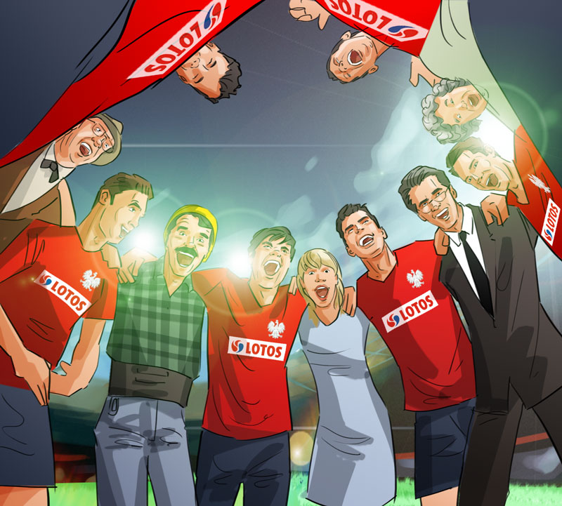 soccer circle people motivation shout together illustration advertising keyvisual