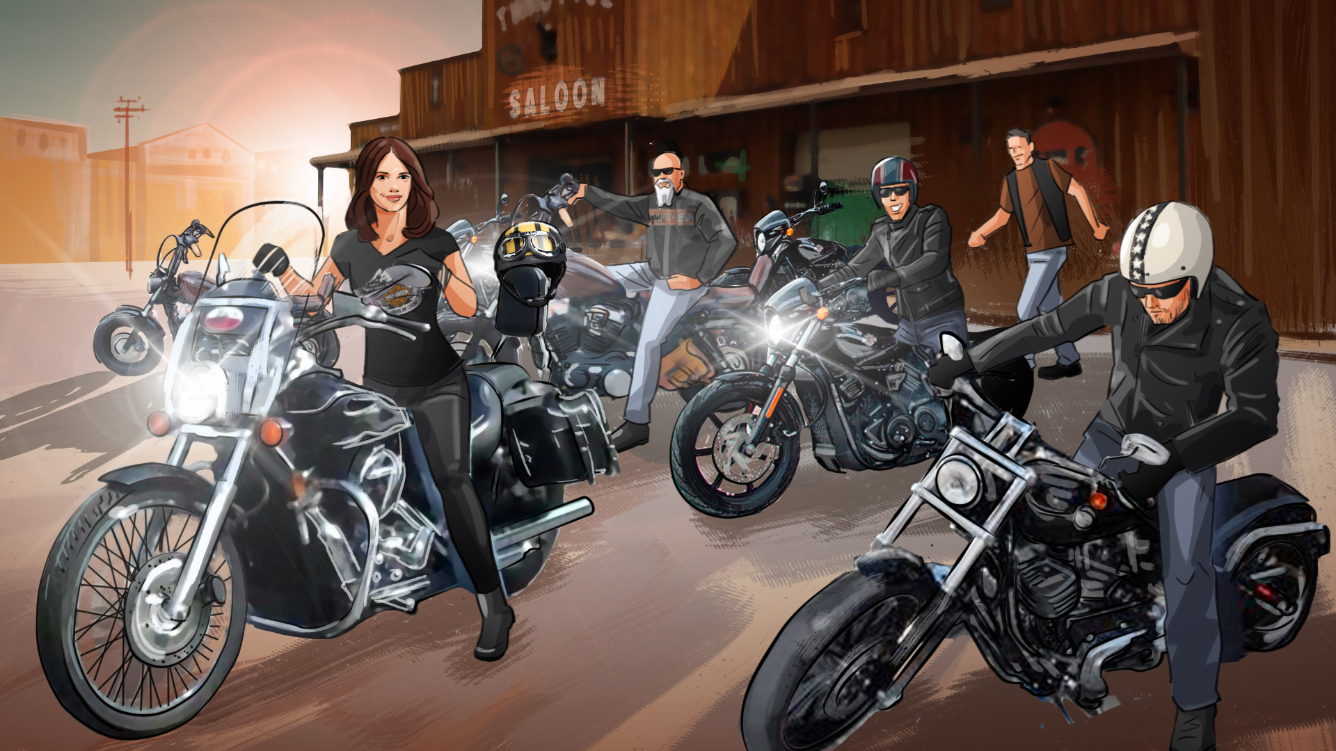 harley motocicles penelope cruise illustration advertising