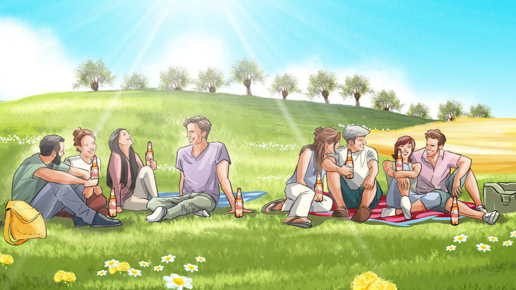 people beer landscape meadow illustration advertising