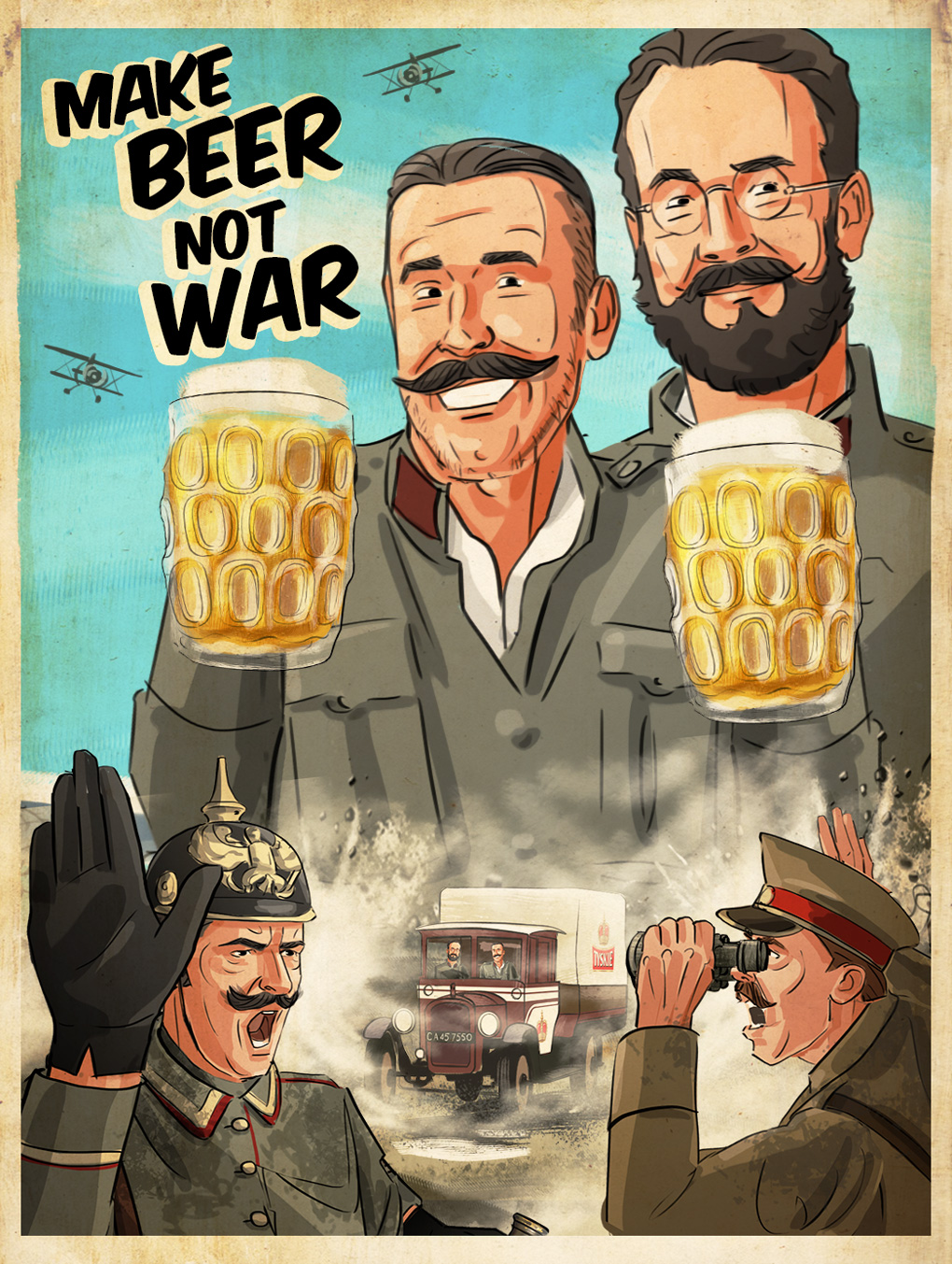beer oktoberfest soldiers ww1 deserters poster illustration advertising