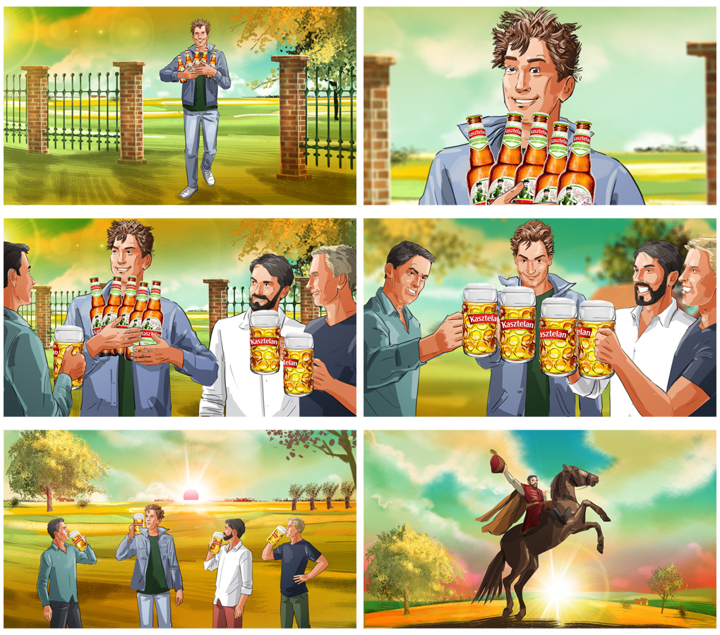 rider horse beer advertising storyboard