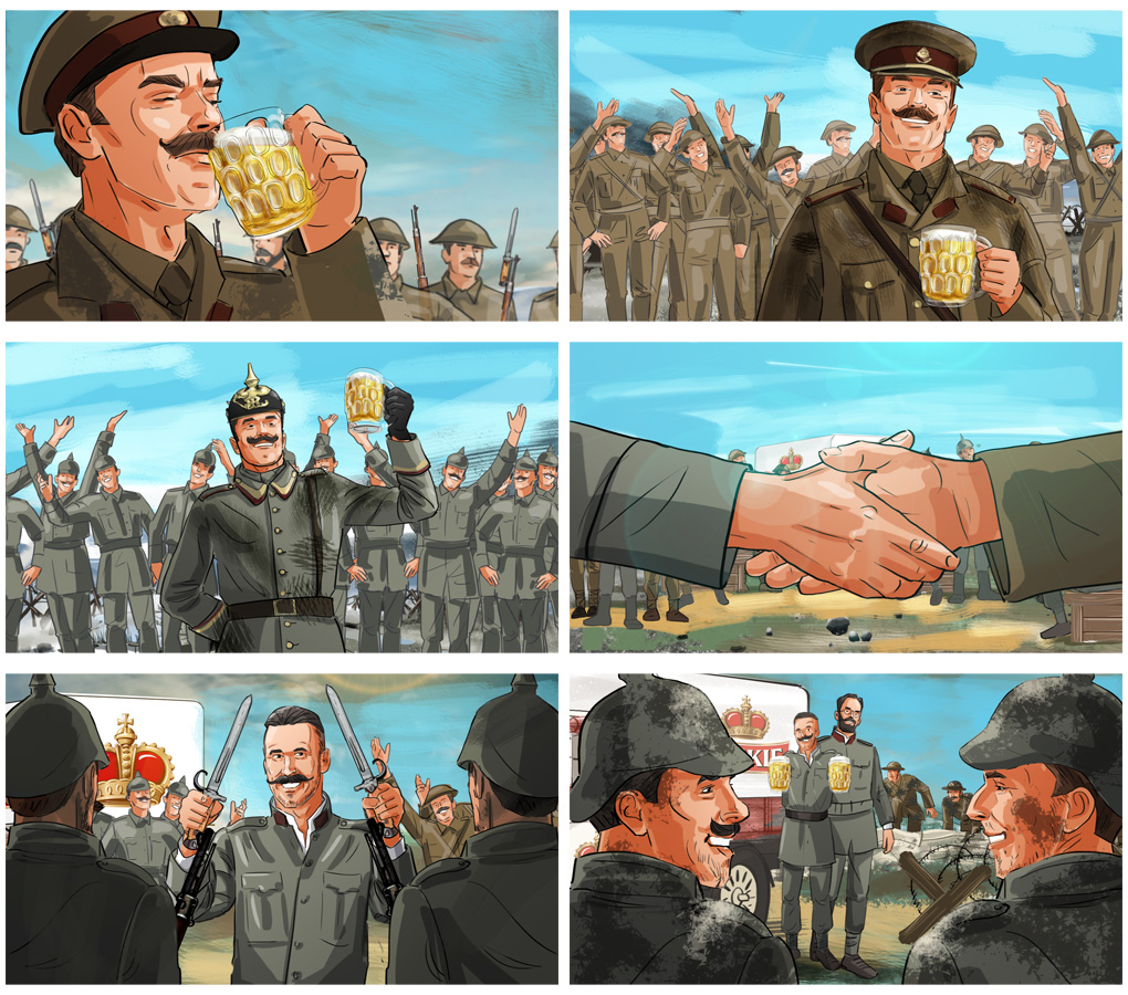 war beer soldiers peace advertising storyboard