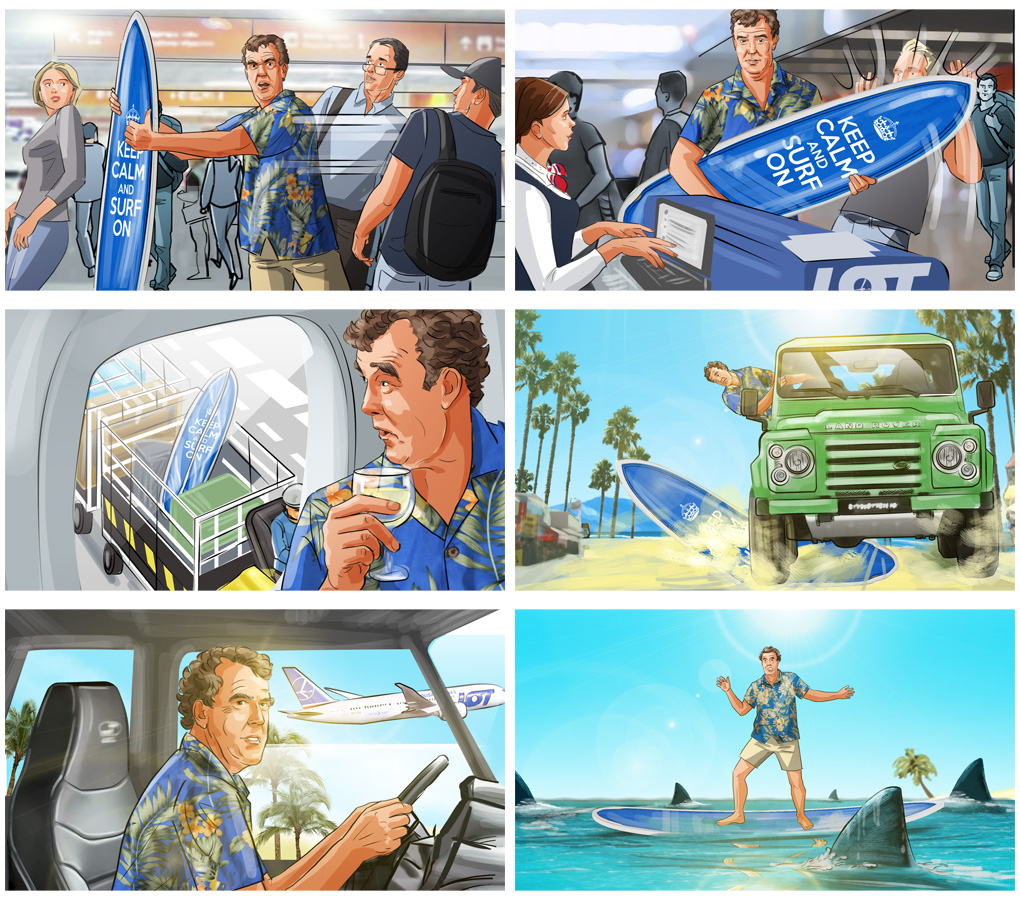funny comedy comercial storyboard clarkson advertising