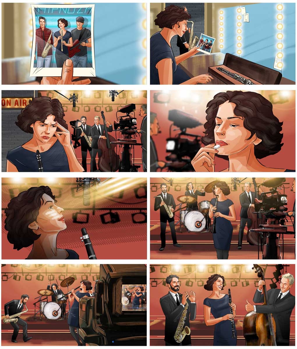 woman played concert medicine advertising storyboard