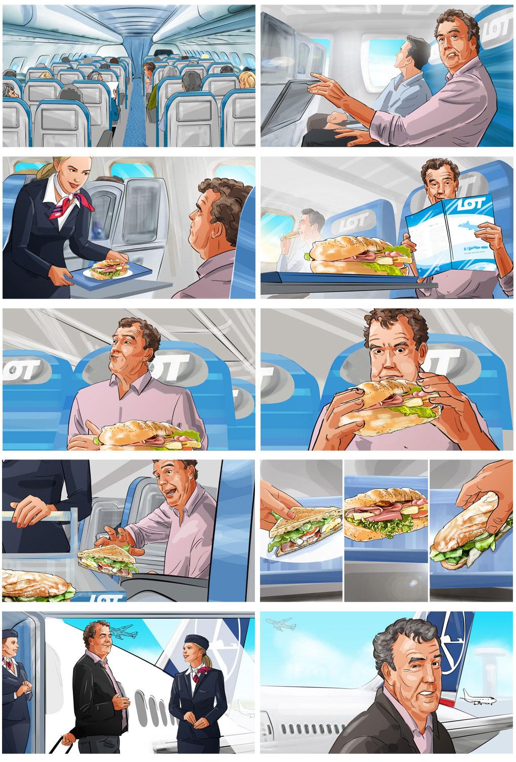clarkson airplane sandwiches illustration storyboard