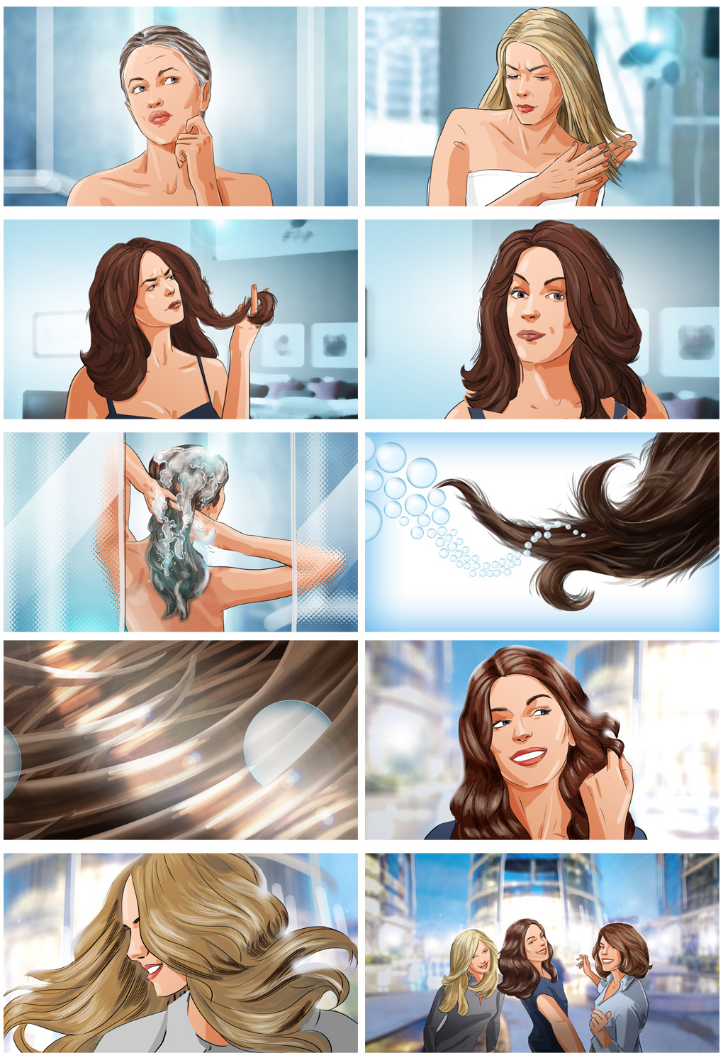 woman cosmetics hairs nivea storyboard advertising