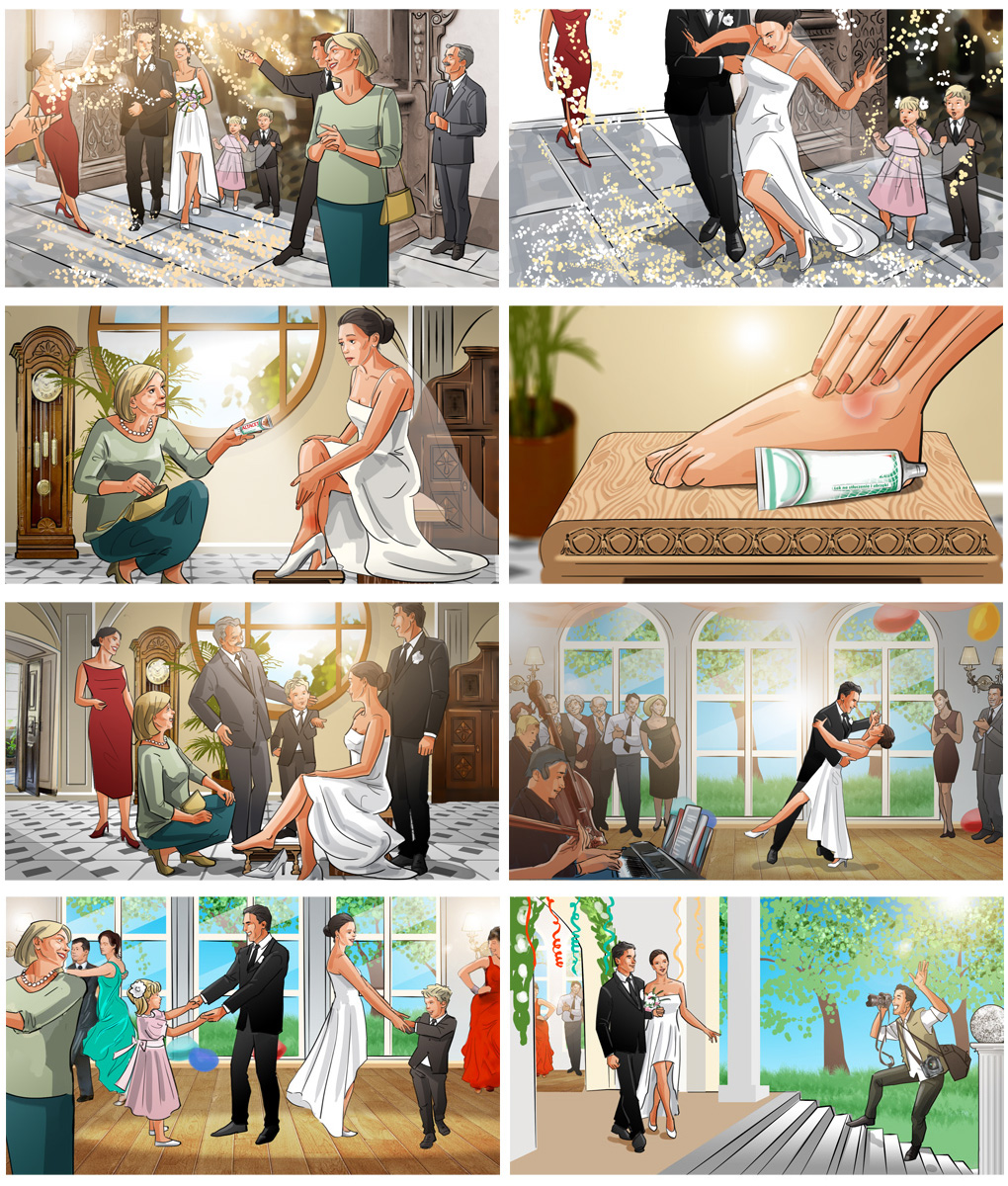 wedding storyboard advertising